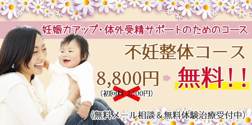 妊娠力アップ・体外受精サポートのためのコース 不妊整体コース 初回無料